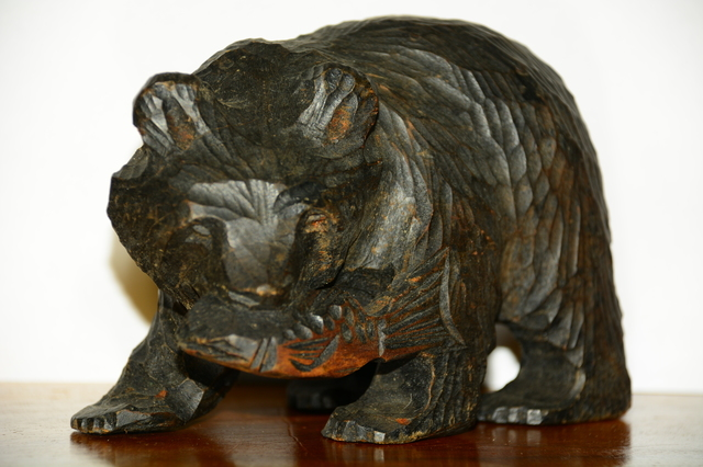 Carved wooden bear