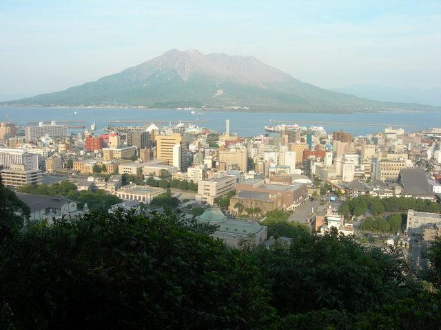 Mt. Sakurajima, view from Shiroyama Observation Deck