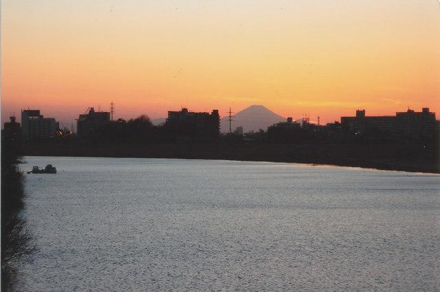 Mt. Fuji from the Bank of Edogawa River