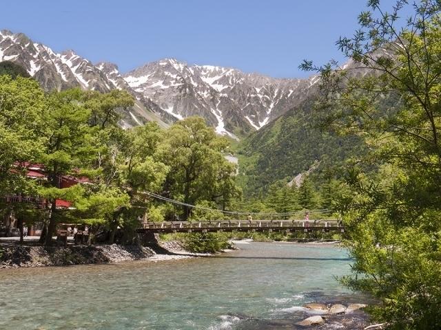 Kappa Bridge over Azusa-gawa River and Mt. Hotaka