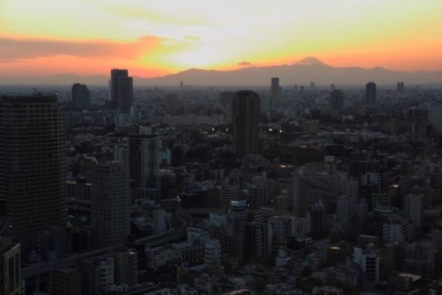 Tokyo and Mt Fuji from Tokyo Tower at dusk